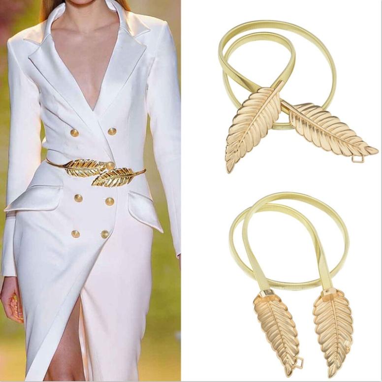 New-Fashionable-Women-Metal-font-b-Leaves-b-font-Elastic-Waist-Dress-font-b-Belt-b